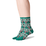 Women's Candy Cane Stripe Socks in Forest Green Front thumbnail