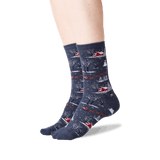 Women's Christmas Scene Crew Socks in Denim Front thumbnail
