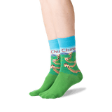 Women's China Crew Socks in Light Blue Front thumbnail