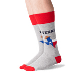 Men's Texas Crew Socks in Sweatshirt Gray Front thumbnail