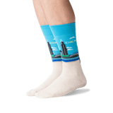 Men's Chicago Crew Socks in Light Blue Front
