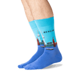Men's Berlin Crew Socks in Light Blue Front thumbnail