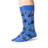 Men's Hiker Crew Socks in Blue Front