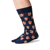 Men's Old Fashioned Crew Socks in Navy Front thumbnail
