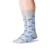 Men's Whale Crew Socks in Gray Heather Front