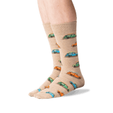 Men's Woody Surfer Car Socks in Hemp Heather Front