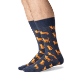 Men's Cat Crew Socks in Denim Front