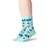 Women's Tropical Fish Crew Socks in Jade Front