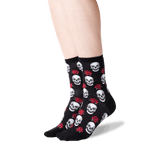 Women's Skull and Roses Socks in Black Front thumbnail