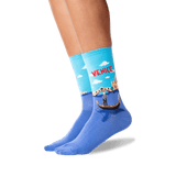 Women's Venice Crew Socks in Light Blue Front
