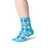 Women's Cupcakes Crew Socks in Light Blue Front thumbnail