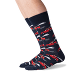 Men's Just Married Crew Socks in Navy Front thumbnail