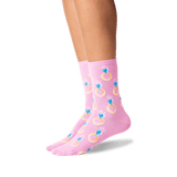 Women's Engagement Ring Crew Socks in Petal Pink Front thumbnail