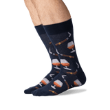 Men's Cognac and Cigars Socks in Navy Front thumbnail