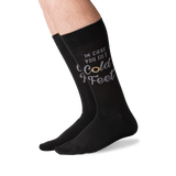 Men's Cold Feet Crew Socks in Black Front