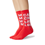 Women's Barbara Kruger's Call Me Cool Me Socks in Red Front