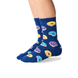 Kid's Donut Crew Socks in Dark Blue Front