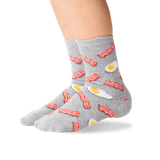 Kid's Eggs and Bacon Socks in Sweatshirt Gray Front thumbnail