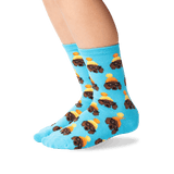Kid's Winter Dogs Crew Socks in Sky Blue Front