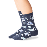 Kid's Astronauts Crew Socks in Denim Front