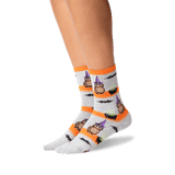 Women's Owl Witch Crew Socks in Gray Front