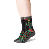 Women's Christmas Cactus Crew Socks in Black Front