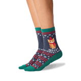 Women's Meowy Christmas Crew Socks in Denim Front