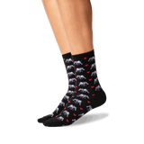 Women's Elephant Love Crew Socks in Black Front