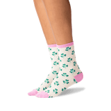 Women's Clover Crew Socks in Oatmeal Heather Front thumbnail