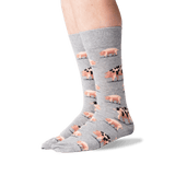 Men's Spotted Pig Crew Socks in Sweatshirt Gray Front