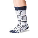 Men's Huskies Crew Socks in Denim Front