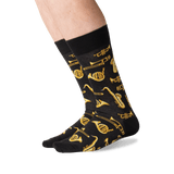 Men's Jazz Instruments Crew Socks in Black Front thumbnail