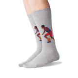 Men's Basketball Player Crew Socks in Sweatshirt Gray Front thumbnail