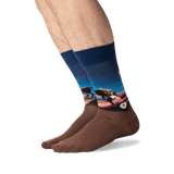 Men's Rousseau's The Sleeping Gypsy Socks in Dark Blue/Blue Front