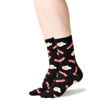 Women's Eggs and Bacon Socks in Black Front