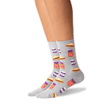 Women's Peanut Butter and Jelly Socks in Sweatshirt Gray Front thumbnail