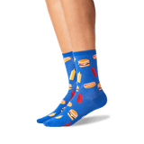 Women's BBQ Food Crew Socks in Blue Front