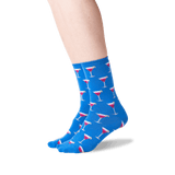 Women's Cosmo Cocktail Crew Socks in Blue Front thumbnail