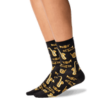Women's Jazz Instruments Crew Socks in Black Front
