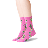 Women's Potted Cactus Crew Socks in Pink Front thumbnail