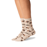 Women's Bison Crew Socks in Hemp Heather Front