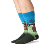 Men's Wine Country Crew Socks in Washed Blue Front
