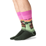 Men's Napa Valley Crew Socks in Pink Front thumbnail