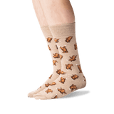 Men's Dancing Turkeys Crew Socks in Hemp Heather Front thumbnail
