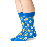 Men's Dreidels Crew Socks in Blue Front