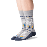 Men's Oy Vey Crew Socks in Sweatshirt Gray Front