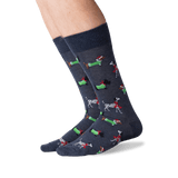 Men's Christmas Dogs Crew Socks in Denim Front