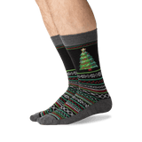 Men's Christmas Tree Crew Socks in Black Front