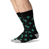 Men's Clover Crew Socks in Black Front