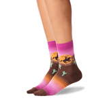 Women's Rodeo Crew Socks in Raspberry Front